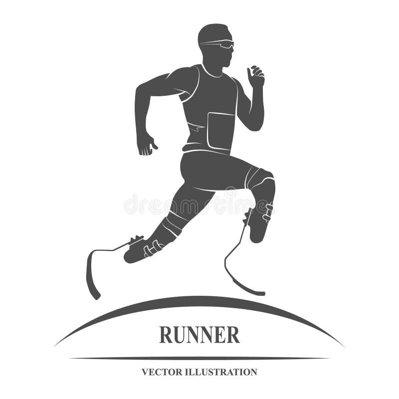 Atleta biegacza ikona ilustracja wektor