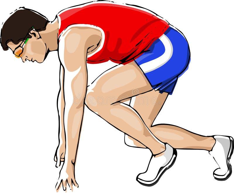 Atleta che Sprinting illustrazione di stock
