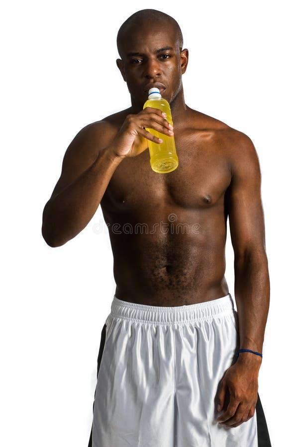 Atleta com bebida da energia fotografia de stock royalty free