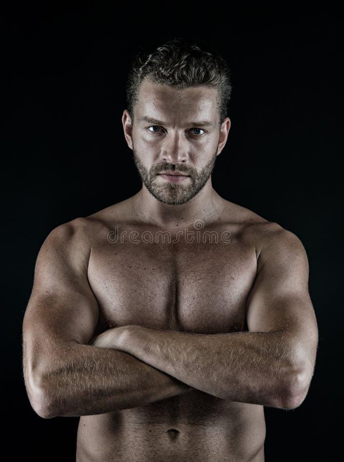 Atleta com mãos dobradas no torso desencapado muscular, caixa, barriga foto de stock