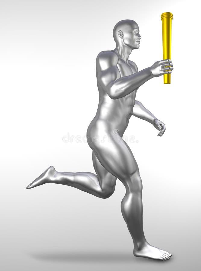 Atleta com tocha olímpica ilustração stock