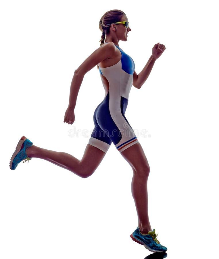 Atleta corriente del corredor del ironman del triathlon de la mujer foto de archivo libre de regalías