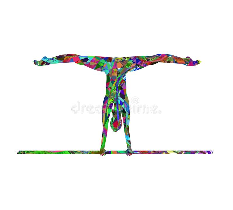 Atleta da ginasta durante um exercício na paralela ilustração do vetor