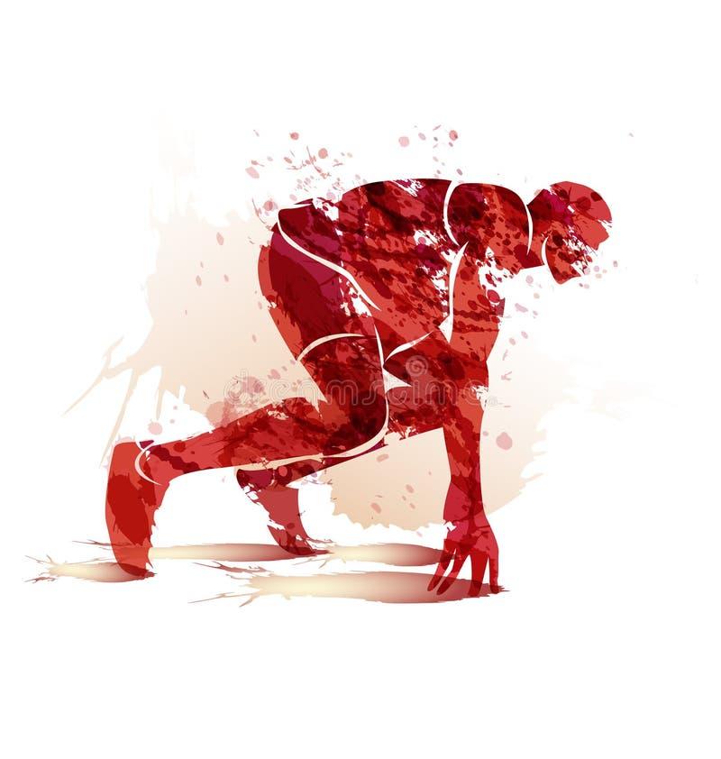 Atleta de la silueta de la acuarela en la pista que comienza a correr ilustración del vector