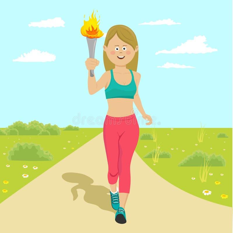 Atleta de sexo femenino feliz joven que celebra un funcionamiento de la antorcha del fuego al aire libre ilustración del vector