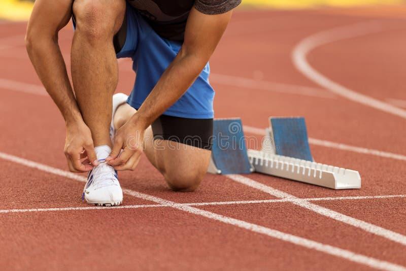 Atleta de sexo femenino que ata los cordones para activar Mujer que activa en una pista corriente Zapatos corrientes Salud de la  fotografía de archivo libre de regalías