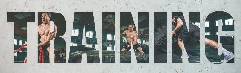 Atleta de sexo masculino joven muscular, collage creativo fotografía de archivo