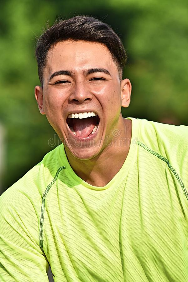 Atleta de sexo masculino Laughing fotos de archivo
