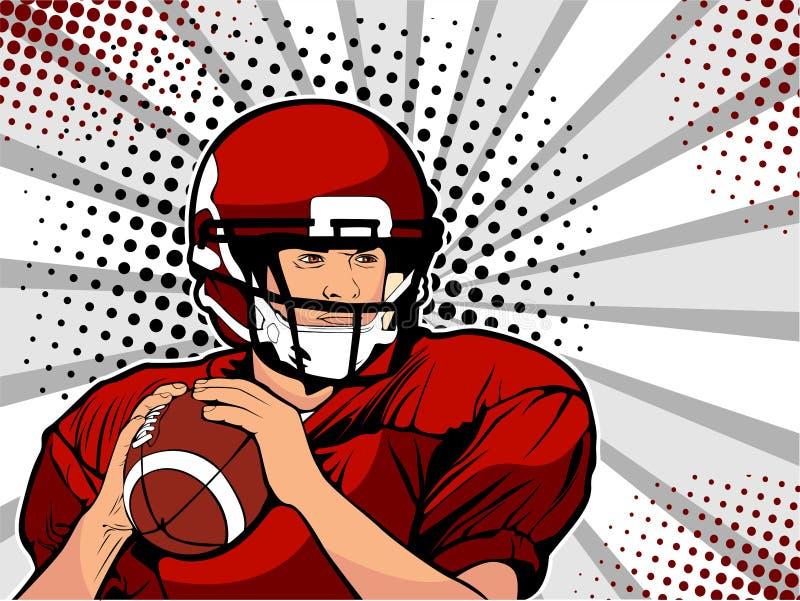 Atleta del fútbol americano Vector el ejemplo en estilo cómico retro del arte pop stock de ilustración
