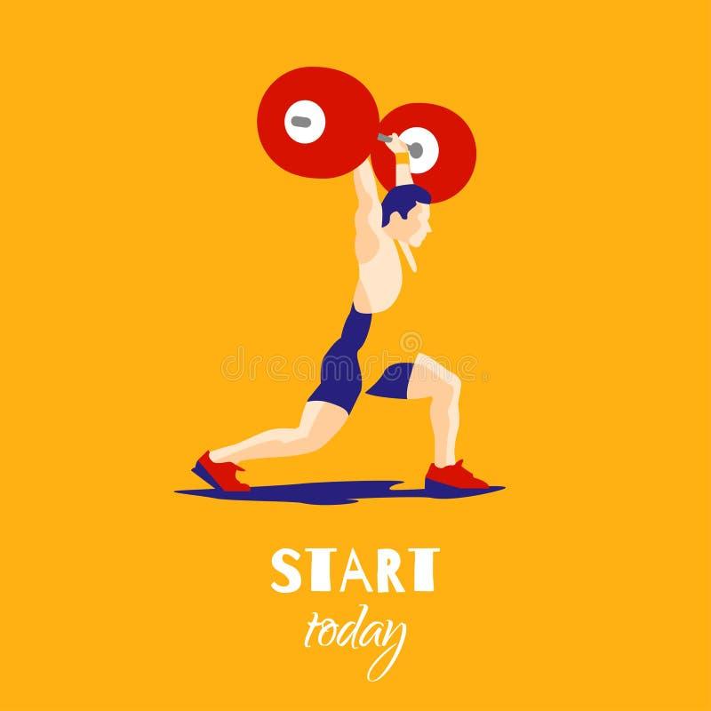Atleta del levantamiento de pesas y lema de motivación stock de ilustración