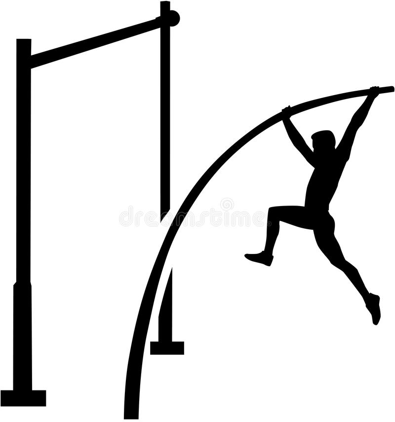 Atleta del salto con pértiga ilustración del vector
