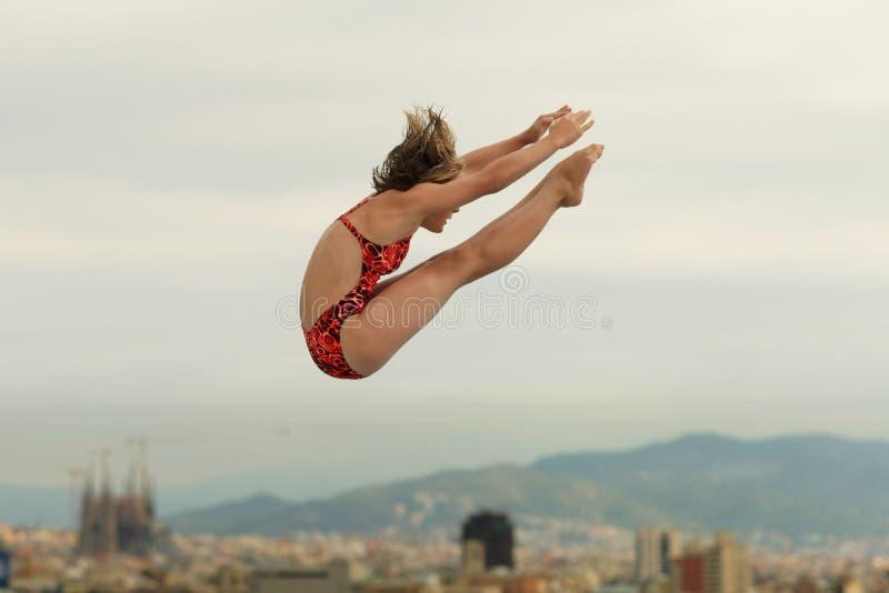 Atleta del salto en la acción fotografía de archivo libre de regalías