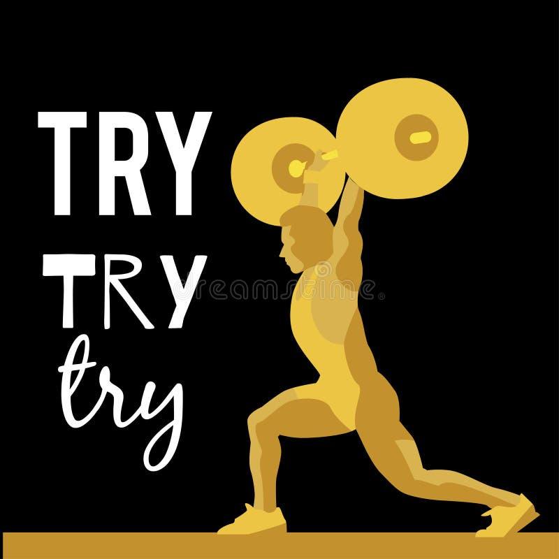 Atleta di sollevamento pesi e slogan motivazionale illustrazione di stock