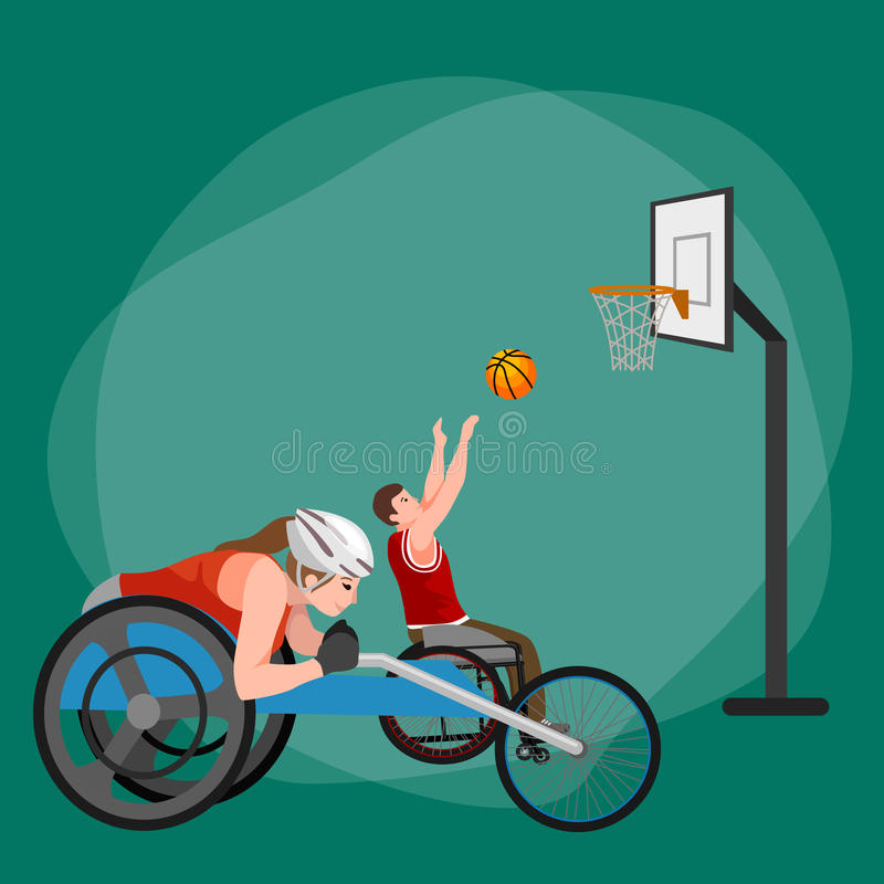 Atleta disabile con il concetto della protesi, lo sport per la gente con la protesi, l'attività fisica e la concorrenza illustrazione di stock