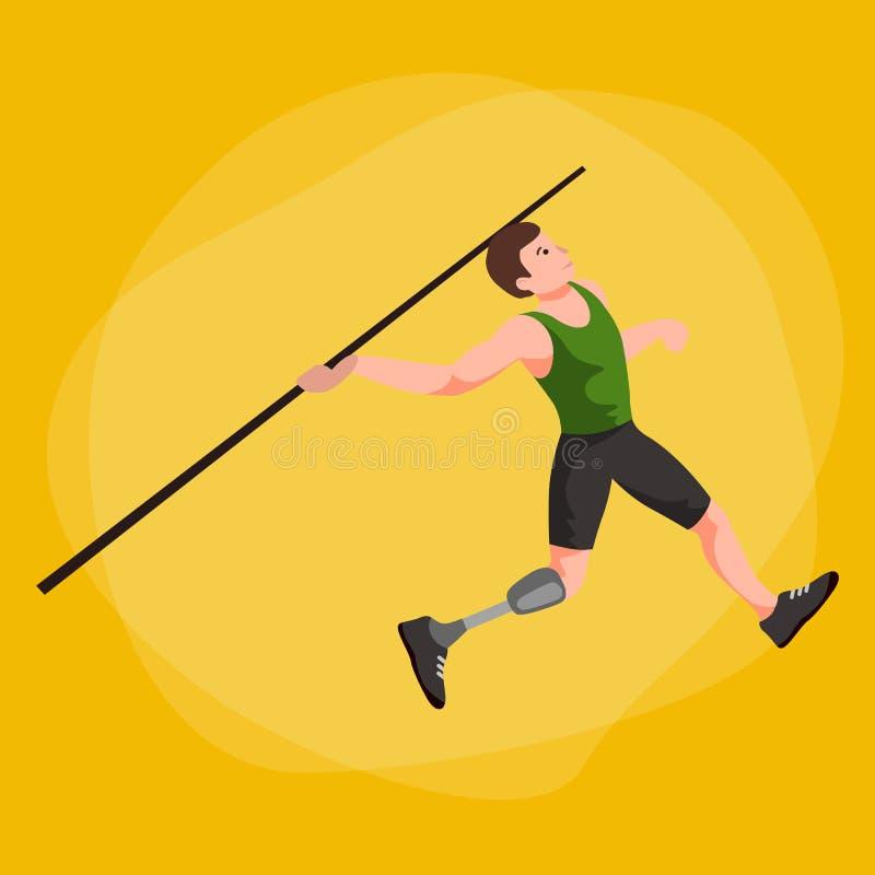 Atleta disabile con il concetto della protesi, lo sport per la gente con la protesi, l'attività fisica e la concorrenza illustrazione vettoriale