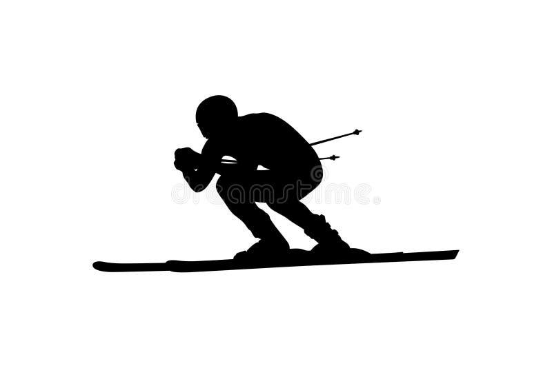 Atleta em declive do esquiador do esqui alpino ilustração stock