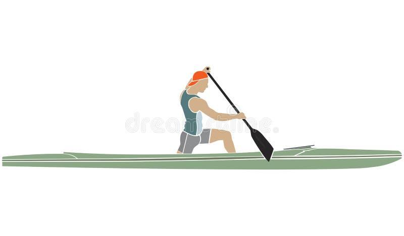 Atleta em uma canoa dos esportes com pá ilustração stock