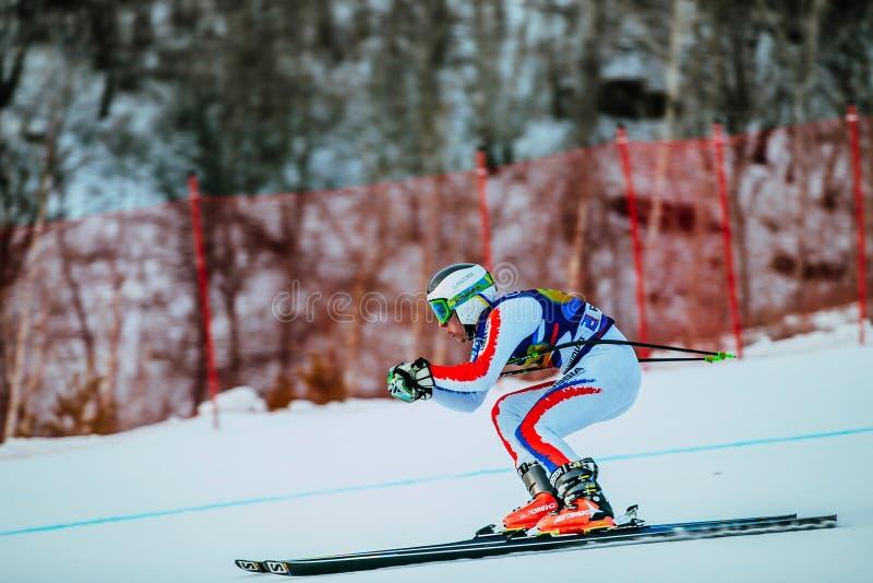 Atleta fêmea novo dentro para baixo durante o copo do russo no esqui alpino imagem de stock
