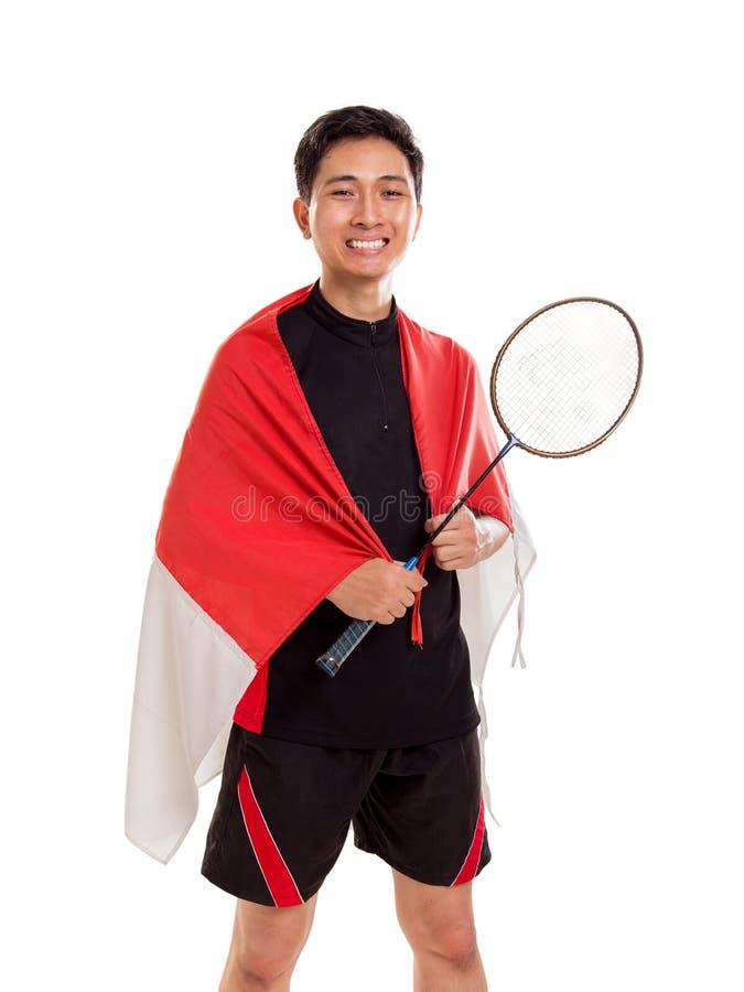 Atleta feliz do badminton de Indonésia fotografia de stock royalty free