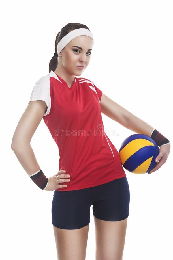 Atleta femminile Equipped di pallavolo in attrezzatura moderna Smilin di sport immagini stock libere da diritti