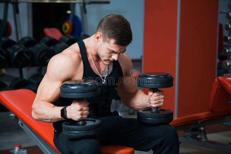 Atleta fuerte apto que lleva a cabo pesas de gimnasia pesadas fotos de archivo