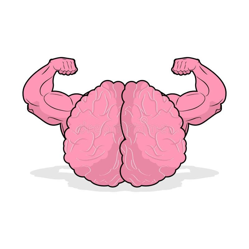 Atleta fuerte del cerebro mente potente del atleta Bodybu de las manos grandes stock de ilustración