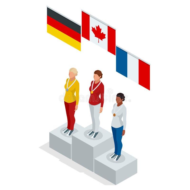 Atleta isometrico Athletic Podium del vincitore della donna di sport del supporto olimpico del podio Tre uomini sul piedistallo d royalty illustrazione gratis