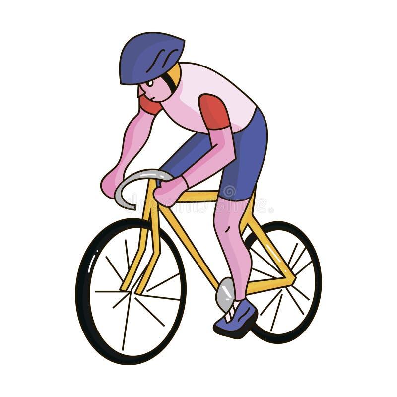Atleta jedzie jego rower na polu z hełmem kolarstwo Olimpijscy sporty przerzedżą ikonę w kreskówka stylu wektoru symbolu royalty ilustracja
