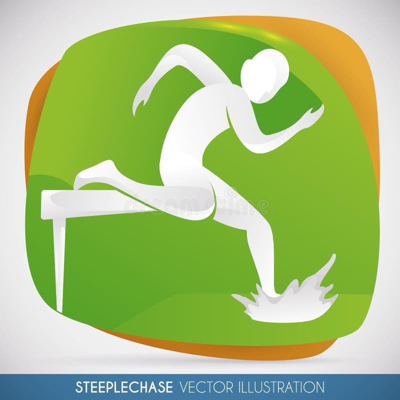 Atleta Jumping la barriera nelle ßiepi che corrono, illustrazione di vettore illustrazione vettoriale
