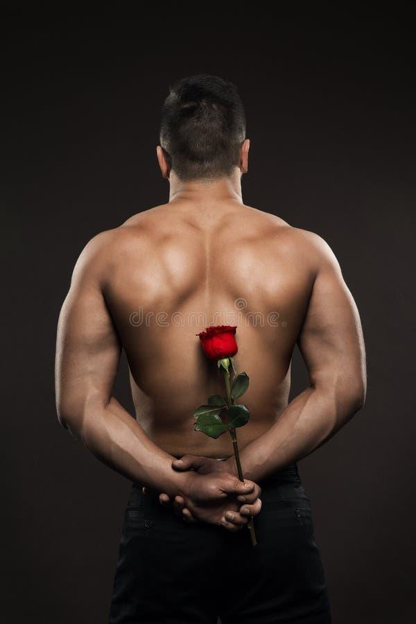 Atleta mężczyzny Z powrotem Tylni widok, Sportowy chłopiec kryjówki róży kwiat, Mięśniowy Nagi ciało zdjęcie stock