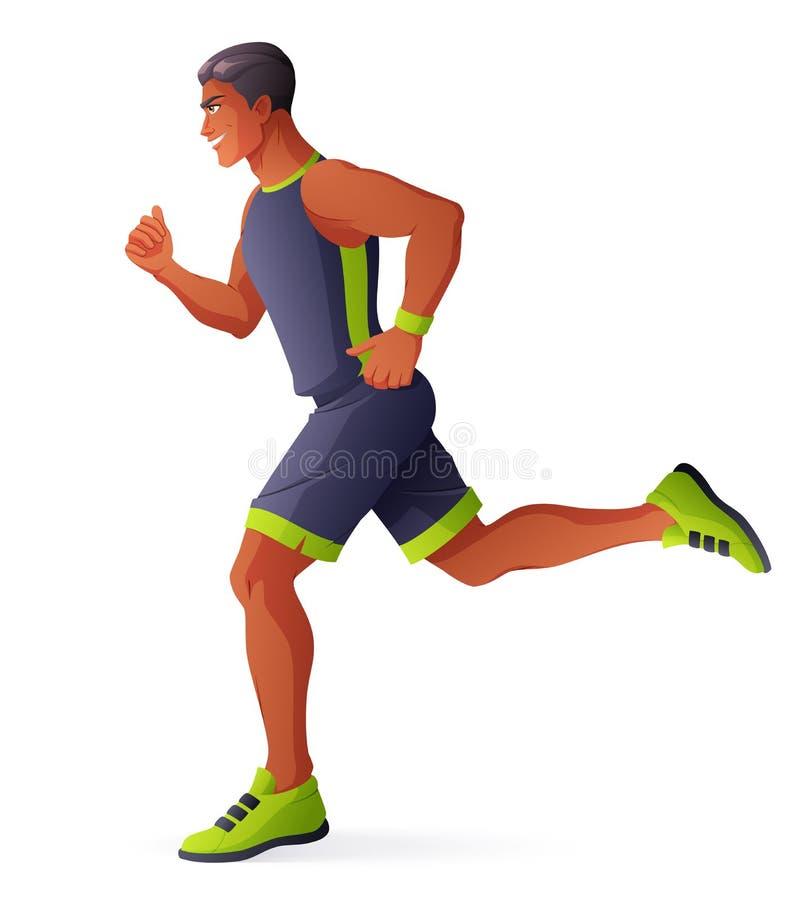 Atleta mężczyzna bieg Odosobniona wektorowa ilustracja royalty ilustracja