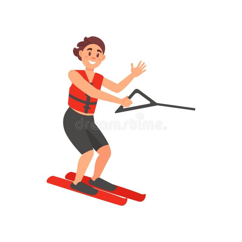 Atleta maschio allegro su sci nautico Ricreazione attiva di estate L'uomo negli shorts di nuoto e la sicurezza conferiscono al ve illustrazione di stock