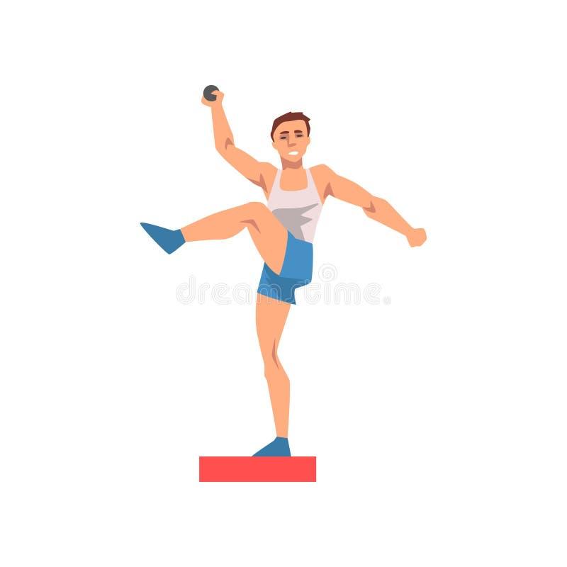 Atleta maschio Character del putter di colpo in uniforme di sport, illustrazione sana di vettore di stile di vita di sport attivo illustrazione di stock