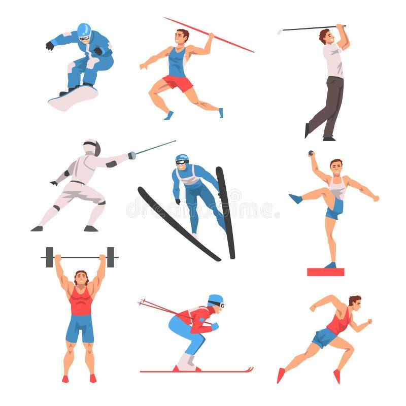 Atleta masculino Character no grupo uniforme dos esportes, jogador de golfe, Snowboarder, atirador de dardo, esgrimista, embocado ilustração do vetor