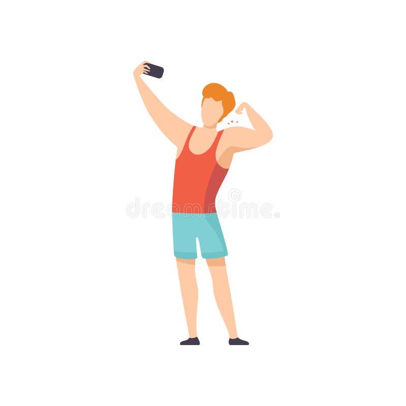 Atleta masculino Taking Selfie Photo em Smartphone, Guy Making Photo ou vídeo para meios sociais usando o dispositivo moderno ilustração do vetor