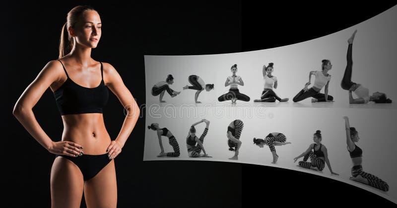 Atleta muscolare della giovane donna su collage nero e creativo immagini stock libere da diritti
