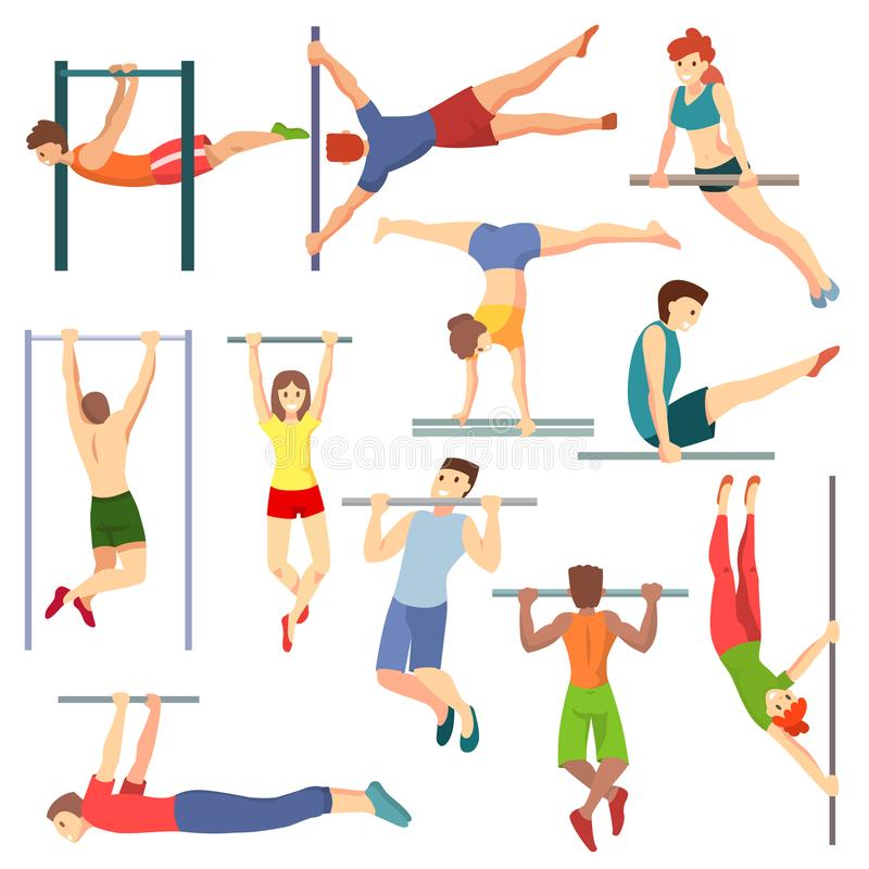 Atleta na horyzontalnego baru wektorowym ilustracyjnym treningu sportowi charaktery trenuje na crossbar ustawiającym sportive lud ilustracji