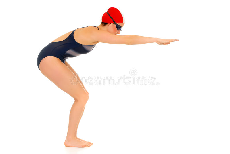 Atleta, nadador de sexo femenino imagenes de archivo