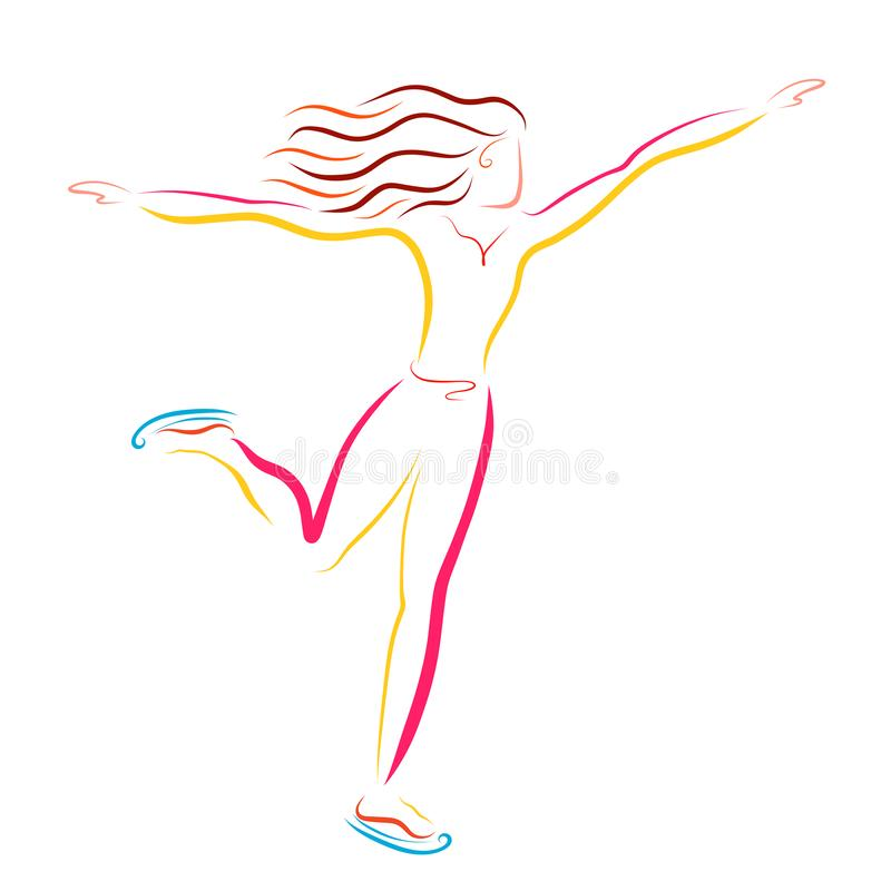 Atleta novo que patina, esporte de inverno, dança no gelo ilustração royalty free