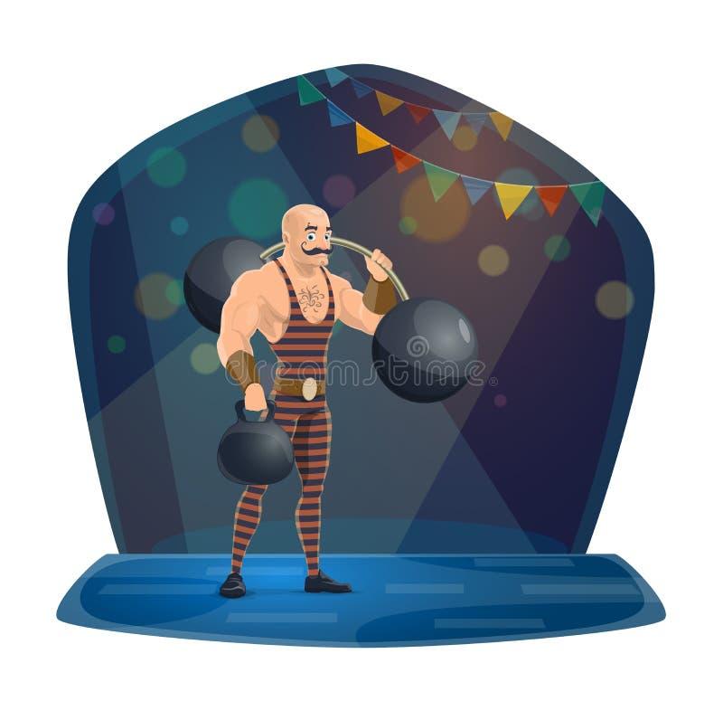 Atleta, peso e barbell, circo do chapiteau ilustração do vetor