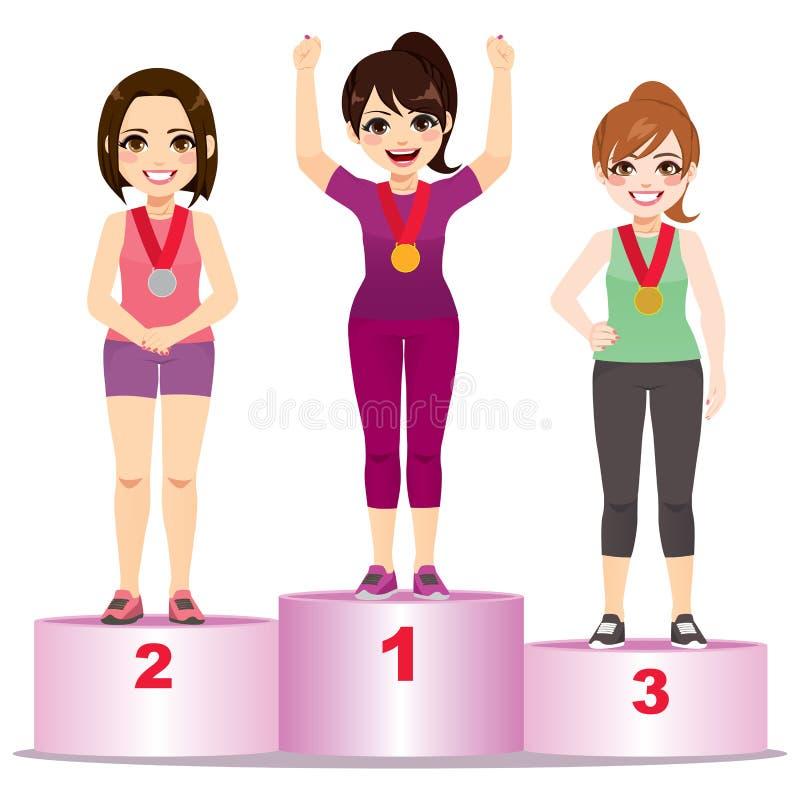 Atleta Podium delle donne illustrazione vettoriale