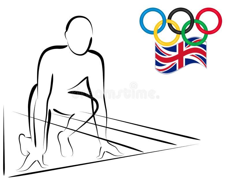 Atleta pronto para começar competir - Londres 2012 ilustração royalty free