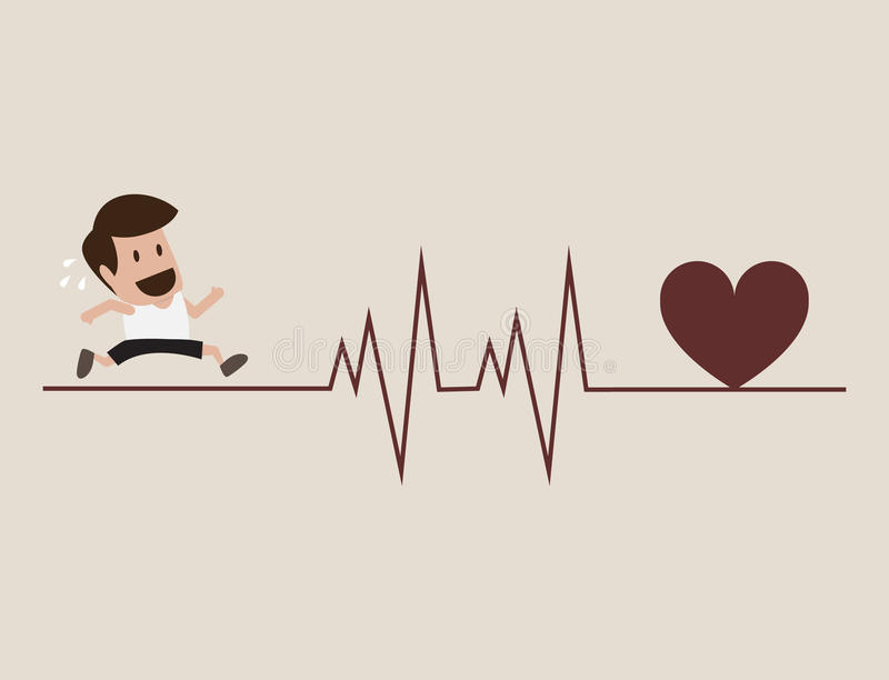 Atleta que corre com símbolo do cardiograma ilustração stock