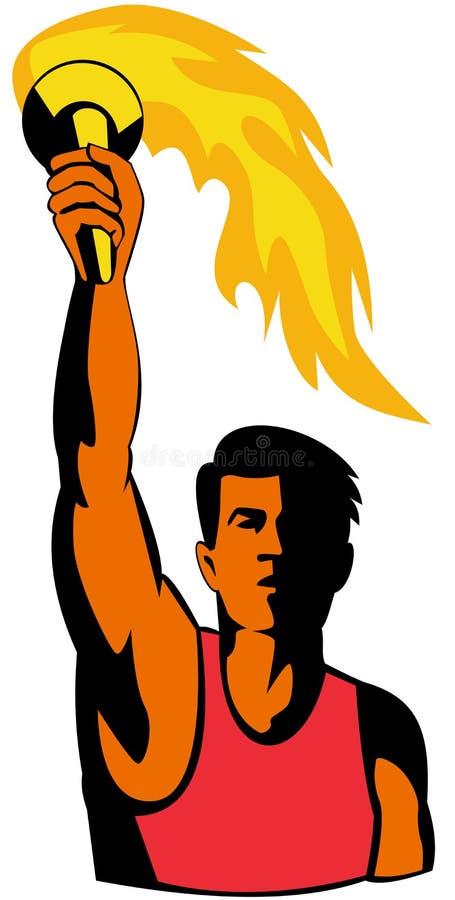 Atleta que prende um tor olímpico ilustração stock