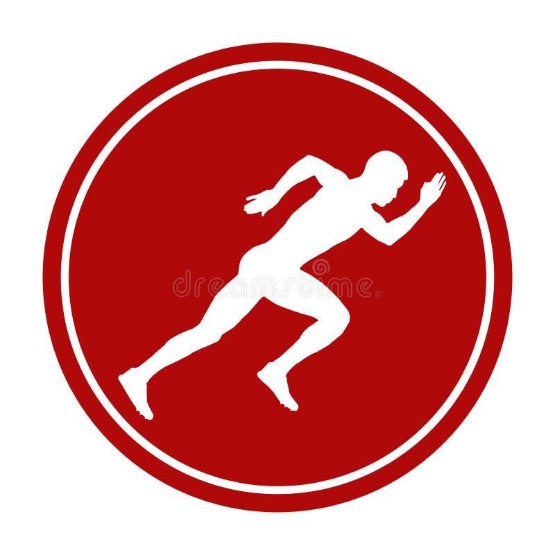 Atleta running do homem da sprint do ícone ilustração royalty free