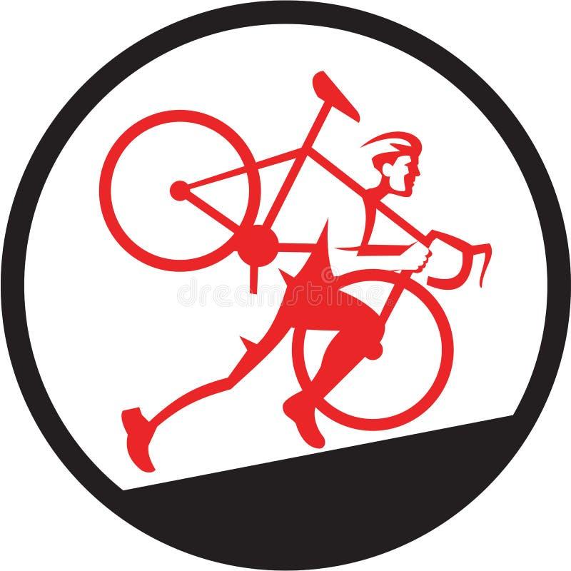 Atleta Running Uphill Circle de Cyclocross ilustración del vector
