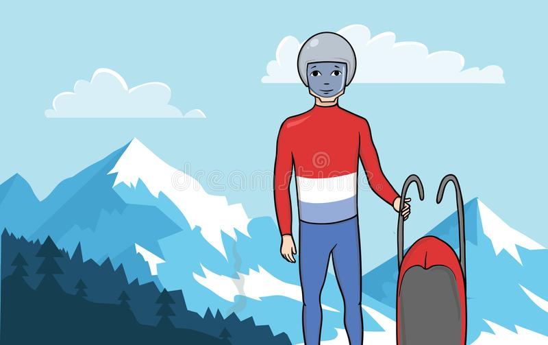 Atleta saneczkarz stoi z saneczki na tle górzysty krajobraz Zima sport, Saneczkarski wektor royalty ilustracja