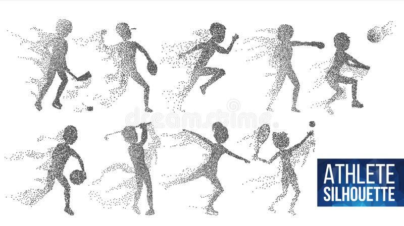 Atleta Silhouette Set Vector Jugadores dinámicos del deporte en la acción Partículas punteadas Bandera del deporte, juego, concep ilustración del vector