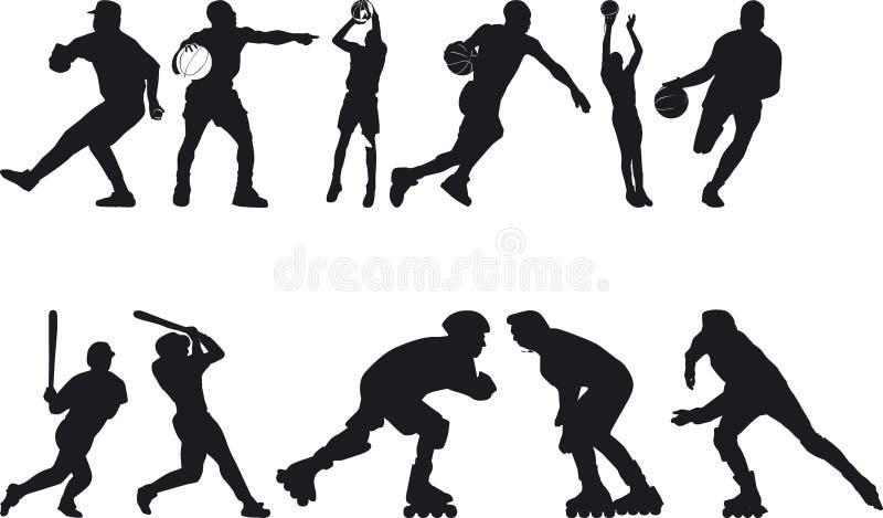 Atleta Silouettes stock de ilustración