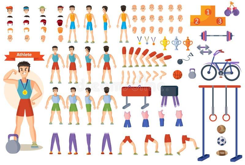 Atleta sportowa kreskówki konstruktora mężczyzna charakteru szkolenie i części ciała pozują odosobnione ikony royalty ilustracja